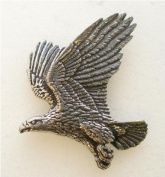 Eagle in Flight Pin Badge in Fine English Pewter, Handmade.