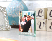 Beautiful, high quality, dinky, christening, glass photograph frame by Spaceform. A timeless christening gift (1753).