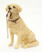 Sitting GOLDEN LABRADOR Dog Ornament - From The Walkies Range Of Collectable Dogs By Leonardo