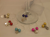 "Set of 6 Handmade "" Mixed Charms "" Wine Glass Charms by libbysmarketplace"