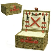 Red 2 Person Wicker Picnic Basket Hamper with Built In Chiller Compartment with Accessories - Luxury Birthday Gifts for Her Women Wife Mum