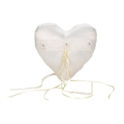 Landon Tyler Ivory Heart Ring Pillow with Flowers and Lace