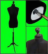 BLACK Size 10-12 Female Dressmaking Mannequin Tailors Bust Dressmakers Display Dummy on a Black Stand