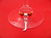 Personalised Letter 'J' Wine Glass Charm by libbysmarketplace