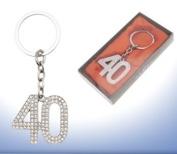 Diamante Occasional Keyring - 40th