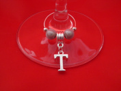 Personalised Letter 'T' Wine Glass Charm by libbysmarketplace