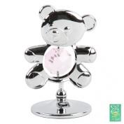 Crystocraft Keepsake Gift Ornament - Freestanding Silver Teddy with Pink Swarvoski Crystal Elements