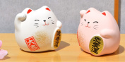 Two Maneki Neko Feng Shui Lucky cats pink for love and happiness white for health