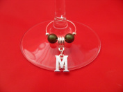 Personalised Letter 'M' Wine Glass Charm by libbysmarketplace