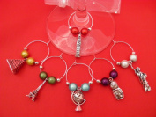 Set of 6 Handmade Around The World Wine Glass Charms by libbysmarketplace