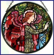 Decorative Hand Painted Stained Glass Window Sun Catcher/Roundel in an Angel Gabriel Design.