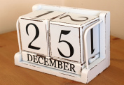 Chic & Shabby Vintage Style Distressed Large White Wooden Block Perpetual Calendar