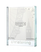 Beautiful, high quality, large, glass, christening, photograph frame by Spaceform. A timeless christening gift (1761).