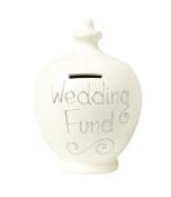 Terramundi Money Pot - Cream with Wedding Fund written in Silver