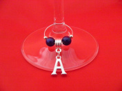 Silver Plated Personalised Letter 'A' Wine Glass Charm by libbysmarketplace