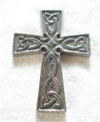 Celtic Cross Pin Badge in Fine English Pewter, Handmade.