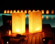 Gift House International Candle Lantern Bags, White Fireworks