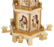 Christmas Pyramid 60cm Nativity Play - 4 Tier Carousel with 6 Candle Holder and Handpainted Figures by BRUBAKER