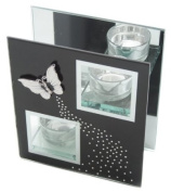 Hestia Black Glass Mirror Finish Double T-Lite Holder with White Butterfly Rectangle Shape