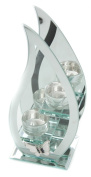 Hestia Glass Mirror Flame Double Tea Light Holder With Metal