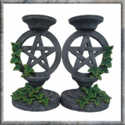 Aged Pentagram Candlestick Gothic Holder