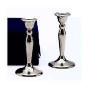 Copa Stainless Steel Shabbat Candlesticks In Velvet Gift Box - Hammered Design Set Of 2