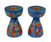 Emanuel Pomegranate Design Small Shabbat Candlesticks