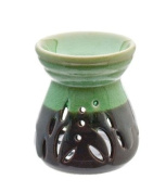 Green & Black Glazed Ceramic Oil Burner H11 cm