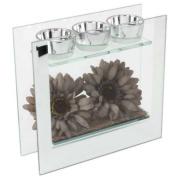 Hestia Glass Mirror Sunflower Triple Tealight Holder