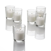 Set of 12 Votive Candle Holder Clear Glass