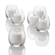 Set of 12 Petite Hurricane Votive Candle Holders, Clear Glass