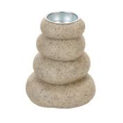 Salco 13 cm Resin Pebble Tealight Holder, Cream