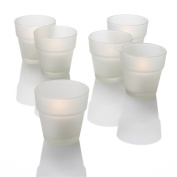 Set of 72 Flower Pot Votive Candle Holders, Frosted Glass