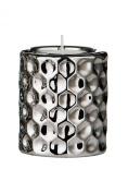 Premier Housewares 8 x 7 cm Tealight Holder Hammered Effect Ceramic, Silver