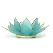 Blue (5th Chakra ) Capiz Shell Lotus Tea Candle Light Holder