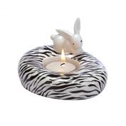 "Bunny de luxe ""Zebra"" Bunny Porcelain Tealight Candle Holder"
