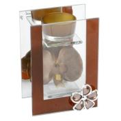 Hestia Single Tall Tea Light Holder Glass & Mirror With Brown Flower