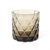 House Doctor Tea Light Holder - Cut Glass Brown