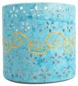 Ian Snow Paper/ Glass Cylinder Tealight Holder, Blue