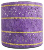 Ian Snow Paper/ Glass Cylinder Tealight Holder, Purple