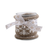 Small Pastel Brown Coloured Knitted Christmas Tealight Holder with Ribbon & Bell