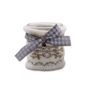 Small White Coloured Knitted Christmas Tealight Holder with Ribbon & Bell