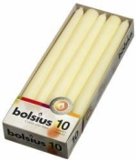 10 Bolsius Ivory Non Drip Dinner Taper Candles, 25cm, 7.5hrs