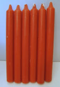 Candles - Set of 6 Bright Orange Bistro Style Dinner Candles