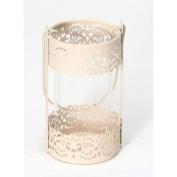 GRACE - Metal and Glass Decorative Candle Lantern - Cream