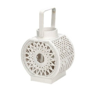 Landon Tyler Woven Willow Round Lantern, White