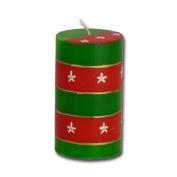 """Kapula pillar candle """"Christmas"""", green/red, 6 x 10 cm"""