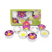 Mixed 8 handmade fairtrade scented glittered flower tealight candle in assorted designs and colours gift set