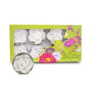 8 handmade fairtrade scented white rose tealight candle gift set