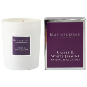 Max Benjamin Cassis And White Jasmine Scented Glass Natural Wax Candle In Gift Box
